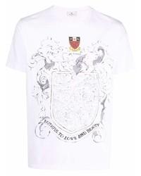 weißes besticktes T-Shirt mit einem Rundhalsausschnitt von Etro
