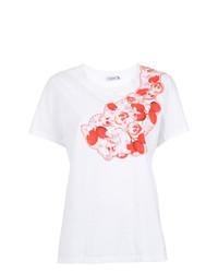 weißes besticktes T-Shirt mit einem Rundhalsausschnitt von Isolda