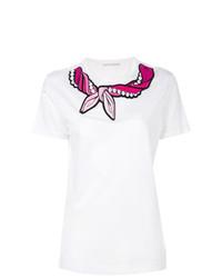 weißes besticktes T-Shirt mit einem Rundhalsausschnitt von Marco De Vincenzo