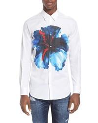 weißes Businesshemd mit Blumenmuster