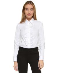 weißes Businesshemd mit Rüschen von RED Valentino