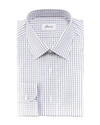 weißes Businesshemd mit Vichy-Muster