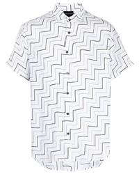 weißes Kurzarmhemd mit Chevron-Muster von Emporio Armani