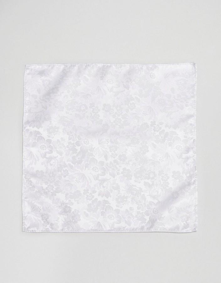 weißes Einstecktuch mit Blumenmuster von Asos