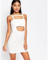 weißes figurbetontes Kleid mit Ausschnitten von Boohoo