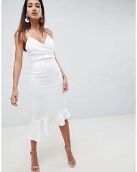 weißes figurbetontes Kleid mit Rüschen von ASOS DESIGN
