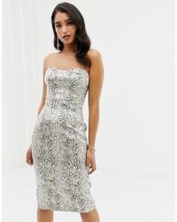 weißes figurbetontes Kleid mit Schlangenmuster von Forever New