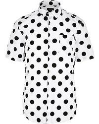 Weißes gepunktetes Kurzarmhemd