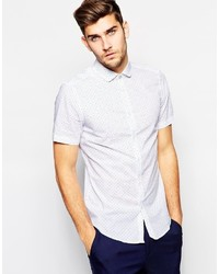 weißes gepunktetes Kurzarmhemd von Ben Sherman