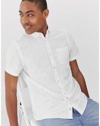 weißes gepunktetes Kurzarmhemd von Burton Menswear