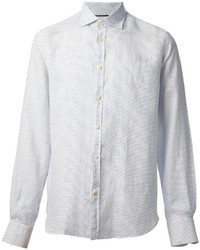 weißes gepunktetes Langarmhemd