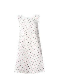 weißes gepunktetes schwingendes Kleid