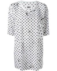 weißes gepunktetes T-Shirt mit einem Rundhalsausschnitt von MM6 MAISON MARGIELA