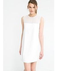 weißes gerade geschnittenes Kleid aus Chiffon