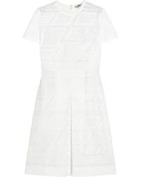 weißes gerade geschnittenes Kleid aus Netzstoff von Fendi
