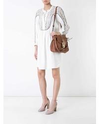 weißes gerade geschnittenes Kleid aus Spitze von Chloé
