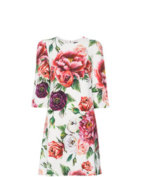 weißes gerade geschnittenes Kleid mit Blumenmuster von Dolce & Gabbana