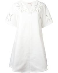 weißes gerade geschnittenes Kleid mit Blumenmuster von See by Chloe