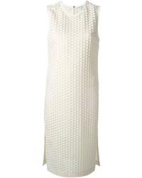weißes gerade geschnittenes Kleid mit Reliefmuster von Elizabeth and James