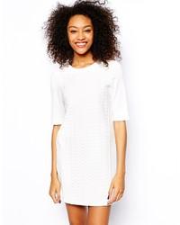 weißes gerade geschnittenes Kleid mit Reliefmuster von Vero Moda