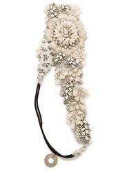weißes Haarband mit Blumenmuster von Deepa Gurnani