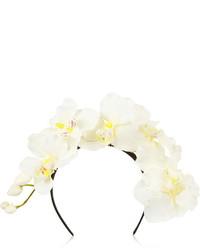 weißes Haarband mit Blumenmuster