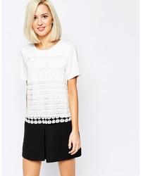 weißes Häkel T-Shirt mit einem Rundhalsausschnitt von Vero Moda