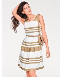 weißes horizontal gestreiftes ausgestelltes Kleid von ASHLEY BROOKE by Heine