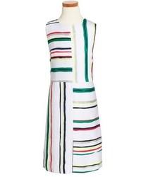 weißes horizontal gestreiftes Kleid