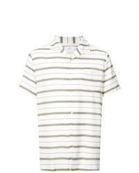 weißes horizontal gestreiftes Kurzarmhemd