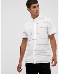 weißes horizontal gestreiftes Kurzarmhemd von Lacoste