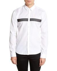 weißes horizontal gestreiftes Langarmhemd