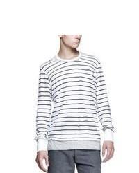 weißes horizontal gestreiftes Langarmshirt