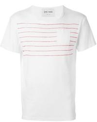 weißes horizontal gestreiftes T-Shirt mit einem Rundhalsausschnitt