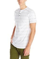 weißes horizontal gestreiftes T-shirt mit einer Knopfleiste