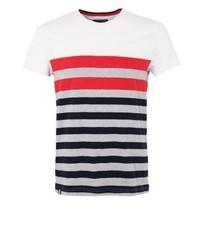 weißes horizontal gestreiftes T-Shirt mit einem Rundhalsausschnitt von Tommy Hilfiger