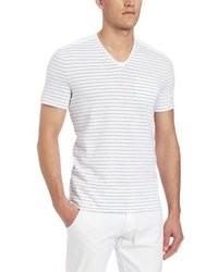 weißes horizontal gestreiftes T-Shirt mit V-Ausschnitt