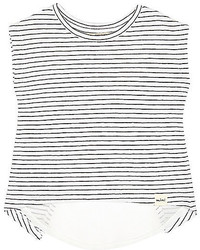 weißes horizontal gestreiftes T-shirt