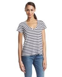weißes horizontal gestreiftes T-shirt von Splendid