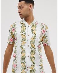 weißes Kurzarmhemd mit Blumenmuster von Bellfield
