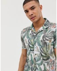 weißes Kurzarmhemd mit Blumenmuster von Burton Menswear