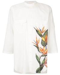 weißes Kurzarmhemd mit Blumenmuster von Dolce & Gabbana