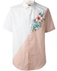 weißes Kurzarmhemd mit Blumenmuster von DSquared