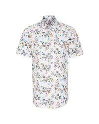 weißes Kurzarmhemd mit Blumenmuster von Jacques Britt