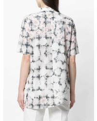 weißes Kurzarmhemd mit Blumenmuster von MM6 MAISON MARGIELA