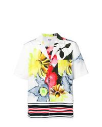 weißes Kurzarmhemd mit Blumenmuster von MSGM