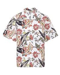 weißes Kurzarmhemd mit Blumenmuster von Prada