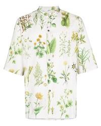 weißes Kurzarmhemd mit Blumenmuster von Salvatore Ferragamo