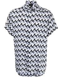 weißes Kurzarmhemd mit geometrischem Muster von Emporio Armani