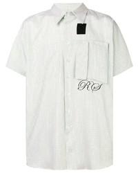 weißes Kurzarmhemd mit Karomuster von Raf Simons X Fred Perry